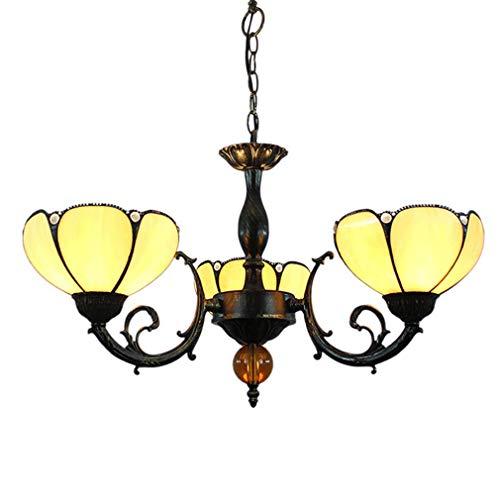 LJLYLTiffany-Stil Kronleuchter, Weinlese Kreative 3 Köpfe Pendelleuchte 8-Zoll-Buntglas-Lampenschirm, Deckenpendelleuchte Beleuchtung Leuchten Für Wohnzimmer Esszimmer, E26 / E27