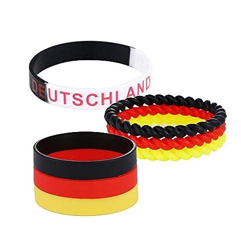 DonDon Armband Set Deutschland Fan Silikon Armbänder schwarz rot gelb mehrere Einzelbänder und ein Armband schwarz weiß - Nero Gioielli Silicone