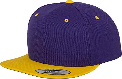 Yupoong Flexfit Unisex Kappe Classic Snapback 2-Tone, zweifarbige blanko Cap mit geradem Schirm, One Size Einheitsgröße für Männer und Frauen, Farbe pur/gold