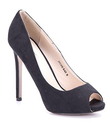 Schuhtempel24 Damen Schuhe Peeptoes Pumps schwarz Stiletto 12 cm High Heels