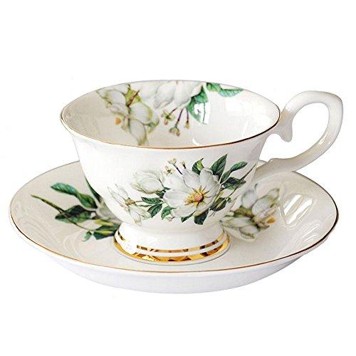lautechco im europäischen Stil Porzellan Tee Tassen-Set mit Untertasse Vintage Floral Tassen Set 200ml/6.7fl. Oz, porzellan, grün, 200ml/6.7FL.OZ Floral Tee-set