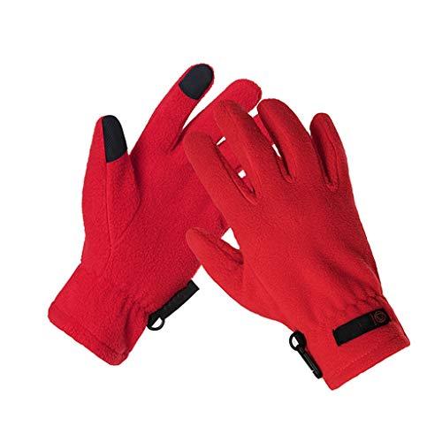 JTWJ Erwachsene Dicke warme atmungsaktive Reitfahrer Fleece-Handschuhe (Farbe : Rot, größe : XL)