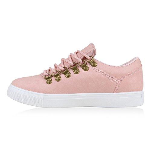 Damen Sneakers Basic Sportschuhe Schnürer Freizeit Schuhe Rosa