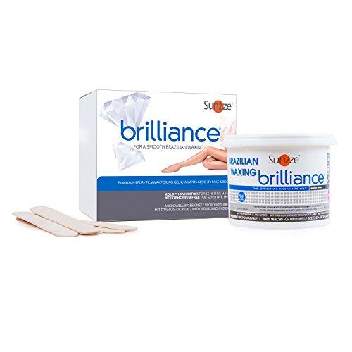 Sunzze Brazilian Wax Brilliance 400gr, Intimenthaarung, Heisswachs auch für Mikrowelle geeignet, gratis 5 Spatel (Wachs 5)