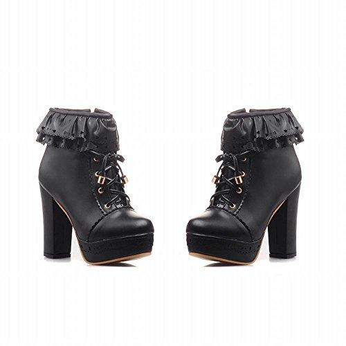 Mee Shoes Damen süß Borte Reißverschluss chunky heels Plateau Ankle Boots Schwarz