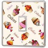 Cupcakes Rosa Interruptor de luz adhesivo Vinilo/Skin Cover sw62