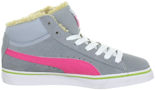 Puma Mid Vulc FUR Jr 354142 Unisex - Kinder Sneaker Grau (quarry-hot pink-bright ch 02)