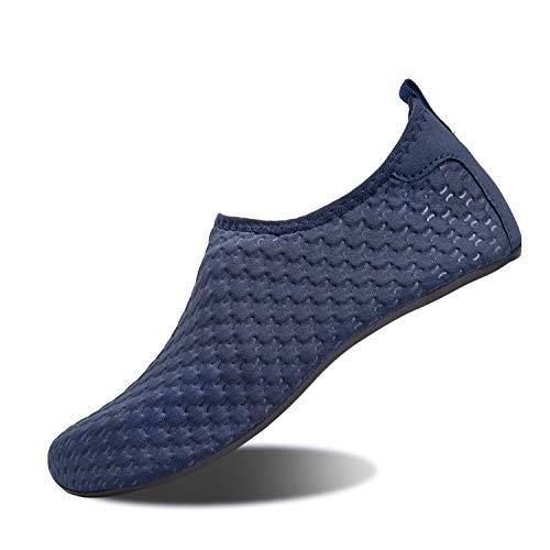 feste badeschuhe Strandschuhe Badeschuhe Schwimmen Aqua Barfuß Wassersport Yoga Schuhe Leicht Rutschfeste für Damen Herren (Yh Blau, 42/43EU)