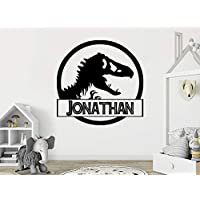 Personalized Jurassic Park Wall Decal Dinosaur Vinyl Stickers Boys Name Wall Decals Custom Name Wall Art Dino Nursery Bedroom Decor N32