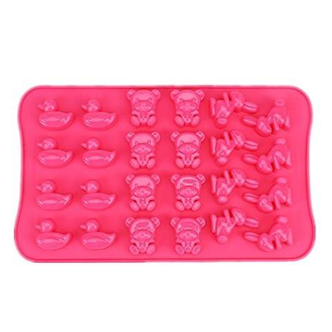 Yunko 24cavité Lapin de Pâques en forme d'ours et de canard en silicone Chocolat Candy Moules & bac à glaçons en silicone