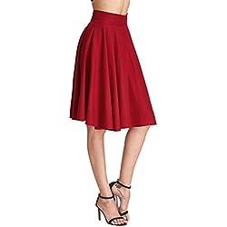 DIDK Mujer Midi Corto Elástica Plisada Básica Falda Plisada Elegante A-Line de Cintura Alta hasta la Rodilla Vintage Retro Swing