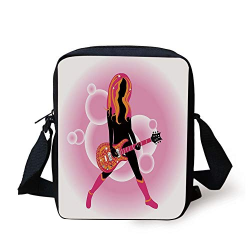 LULABE Popstar Party,Illustration of Woman with Stylized Guitar on Pink Bubble Backdrop Decorative,Pink Orange Black Print Kids Crossbody Messenger Bag Purse (Ball Bowling Womens)