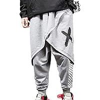 Hombres 2 En 1 Falso Dos Piezas Raya Pantalones Pantalones Holgados Hip Hop De Impresión