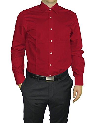 Redmond - Body Cut - Bügelfreies Herren Langarm Hemd in verschiedenen Farben (150110) Rot(57)