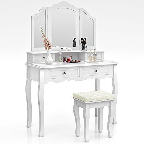 Schminktisch Hocker Kosmetiktisch Frisierkommode Frisiertisch Spiegel Ambois