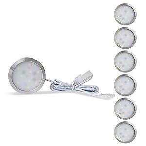 Lampaous Dimmbar LED Vitrinenbeleuchtung Rund indirekte Kabinett Beleuchtung Unterbauleuchten Schranklicht Kaltweiß 6000K, 2W per Puck Licht mit Dimmerschalter und 12V Power Adapter, 6er Pack