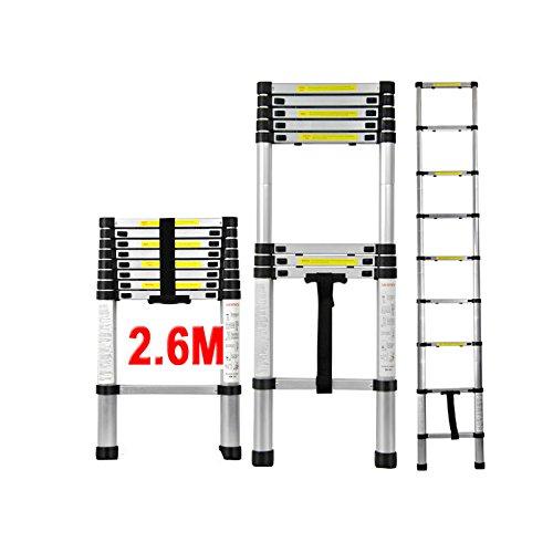 QITAO Échelle télescopique 2.6M en aluminium bricolage pliable extensible unique droite Multi-fonction Ladder charge 330lbs (150 kg) (8.5TF / 2.6M)