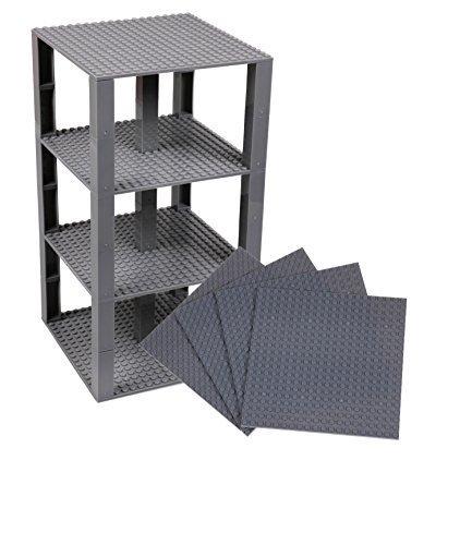 Strictly briks set per costruzione torre - include 4 basi da 15,2 x 15,2 cm e pilastri 2x2 - compatibili con tutte le principali marche - grigio