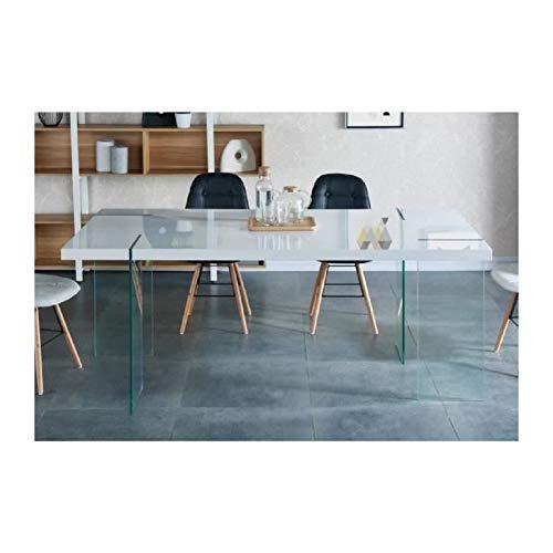 CREA Table a manger 8 personnes 190x95 cm - Laqué blanc brillant