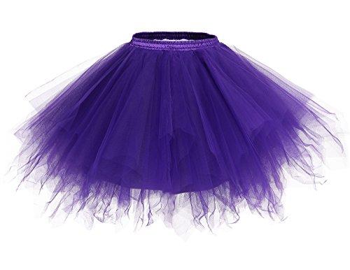 Bridesmay Womens Short Party Tutu Ballet Bubble Skirt Retro Petticoat Skirt Black XL