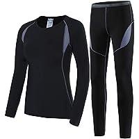 HAINES Ropa Interior Térmica Esqui Mujer Ropa Térmica Interior para Running Montaña Ciclismo Fitness Negro Gr.40