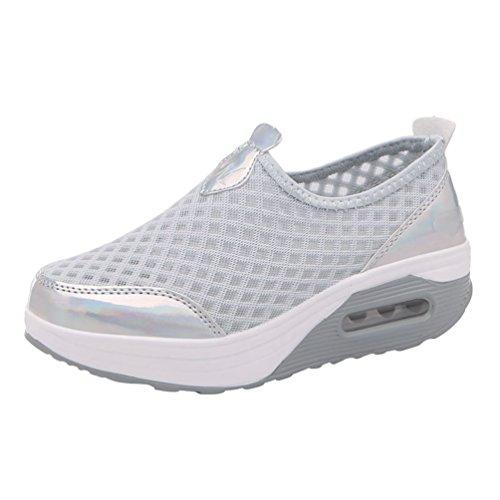 Yiiquanan donna traspirante mesh platform sportive pattini fitness scarpe da ginnastica sneaker da zeppa (argento grigio,eu 37)