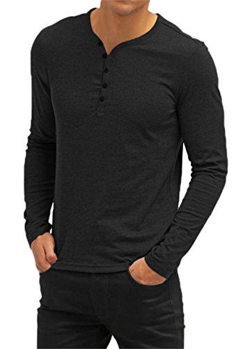 AIYINO Herren Casual T-Shirt mit V-Ausschnitt Kontrast 100% Baumwolle Cardigan (Medium, Langarm-Schwarz) (Baumwoll-casual Weiße Shirt)