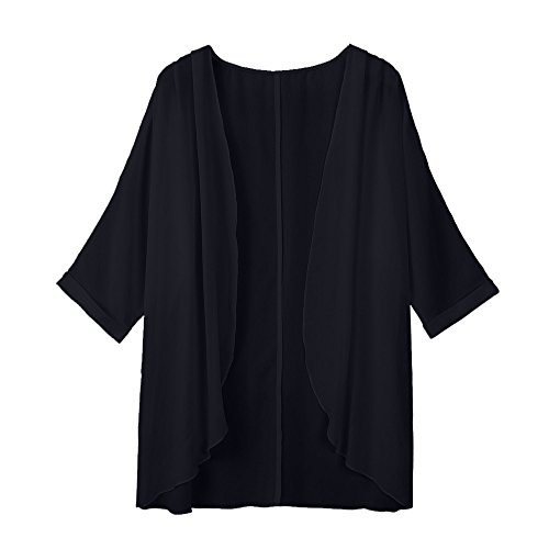 VEMOW Sommer Herbst Elegante Damen Frauen Solide Sheer Lose Solide Kimono Strickjacke Casual Täglichen Party Strand Workout Capes(Schwarz, Freie Größe)