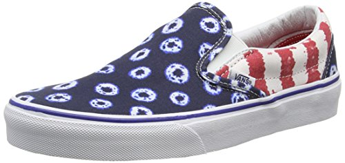 Vans Authentic, Sneakers Basses Mixte Adulte Multicolore (Dyed Dots & Stripes/Blue/Red)