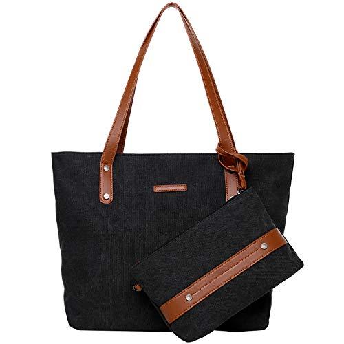 Bolso de Lona de Las Mujeres Bolso de Mano Shopping Bag Tote Bag Negro