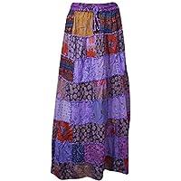 Women Maxi Skirt Purple Patchwork Long Hippie Gypsy Vintage Skirt M