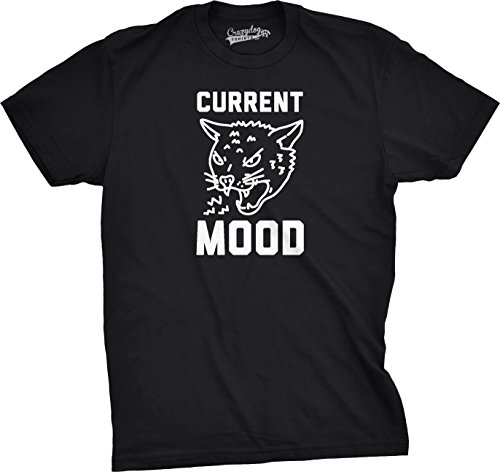ns Current Mood Angry Tshirt Cat Funny Meowing Tiger Kitten Tee (Black) M - Herren - M (Beängstigend Zähne)