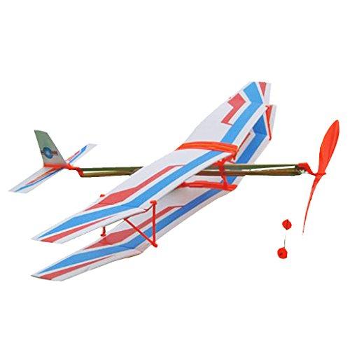 Sharplace DIY Flugzeug Modell mit Gummimotor Lernspielzeug für Baby/Kinder, verbessert Hand-Auge-Koordination von Kindern - Blau (Einfache Diy Weihnachtsgeschenke)