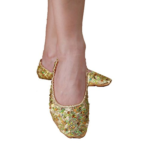 Byjia Bauch / Ballett Tanzschuhe Kostüm Geschenk Für Big Party Weihnachten Kleine Mädchen Professionelle Weiche Ferse Flat Soled Pack Von 2 . Gold . Xl (Kostüme Jazz Tanz Modern)