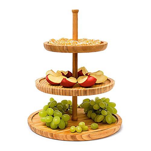 Monsterzeug Etagere 3 stöckig Holz, Bambus Snackplatte Obst, Servierständer 3 Schalen, Obstteller...