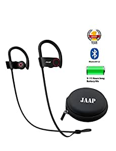 JAAP 11 Hours Playtime HD Stereo Sound Rich Bass Bluetooth 4.2 Earphones with Carrying Case
