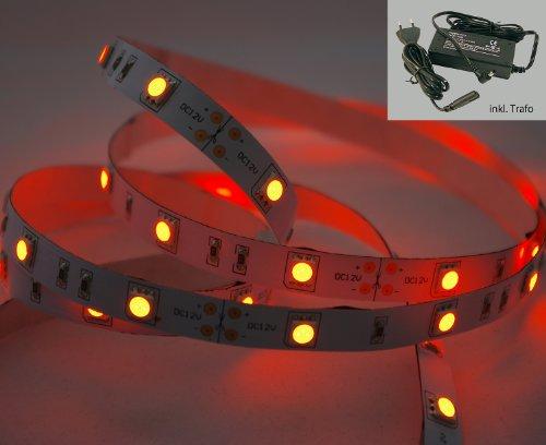 5 Meter oranges LED Strip Stripe Streifen Leiste Band (5m, orange, IP20) mit Anschlussbuchse für Hohlstecker und inklusive Netzteil