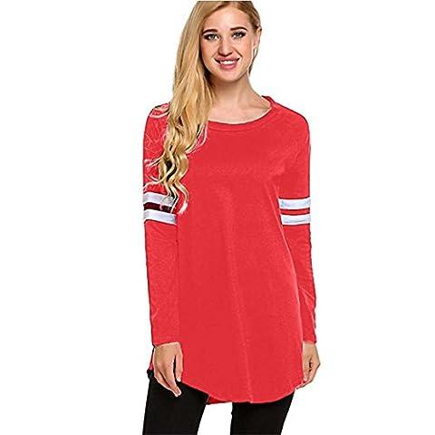 Moonuy Dame Frühling Neue Pullovers Frauen Herbst Langarm T-Shirt Elegant Slim Bluse Neue Art Beliebte Shirts Vintage Tops Freizeit Sweatshirts Fashion Baseball Bluse Polyester Tops (L, Rot)