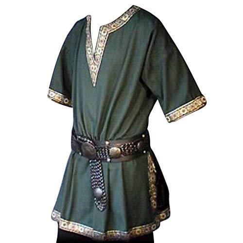 Herren Mittelalterlich Hemden - Retro Renaissance Mittelalter Gothic Tunika Mode Kurze Ärmel V-Ausschnitt T-Shirts Blusen Tops Kostüm für Halloween Cosplay Kostüm (Ohne Gürtel) (Halloween-kostüm Denim Shirt)