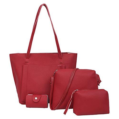 SoonerQuicker Frauen Vier Set Handtasche Schultertasche Vier Stücke Tote Bag Crossbody Wallet Party gehen Einkaufstasche (rot) - Gehen Tote Bag