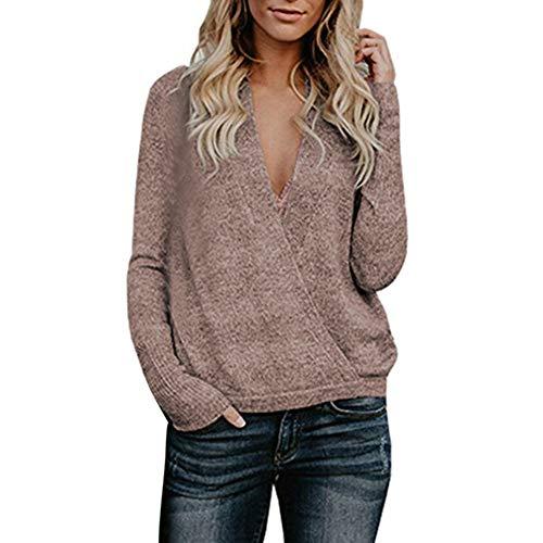iYmitz Damen Pullover Sweatshirt aus der Schulter lässig V-Ausschnitt Gestrickte lose Lange Ärmel(W-Kaffee,EU-36/CN-L)