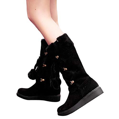 TianWlio Boots Stiefel Schuhe Stiefeletten Frauen Herbst Winter Wildleder Hairball Runde Zehe Slip-On Schuhe Halten Warme Mittlere Schneestiefel Weihnachten Schwarz 41
