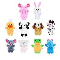 Garneck 10pcs Animal Finger Puppets Set Soft Plush Finger Puppets Dolls Props for Babies Kids Children Story Time