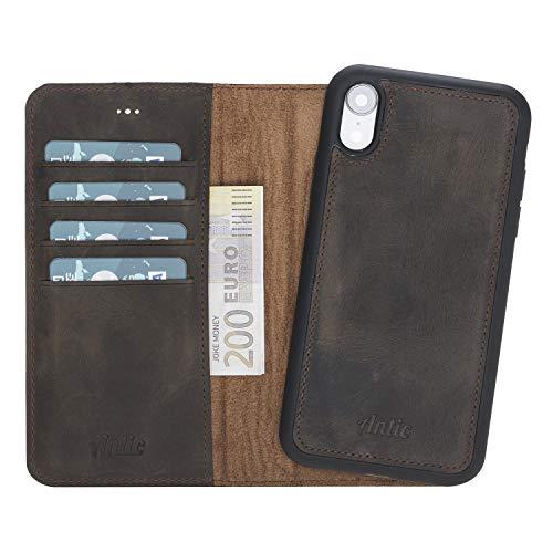 Antic Case 2in1 Leder Wallet für iPhone XR magnetisch, abnehmbar mit RFID-Blocker und Lederhülle QI-Fähig Dunkel braun - Kopfhörer-case Aus Leder