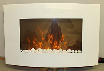 TruFlame 2018 7 colour Side LEDs Wall Mounted Arched White Glass Electric Fire with Pebble Effect (88cm wide)
