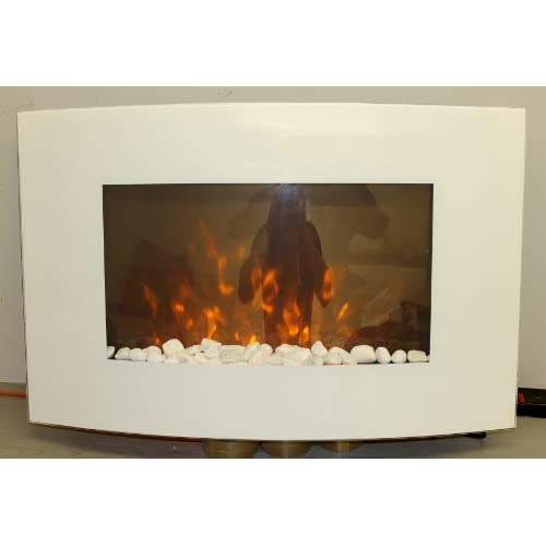 41eIVoVjH9L. SS500  - TruFlame 2021 7 colour Side LEDs Wall Mounted Arched White Glass Electric Fire with Pebble Effect (88cm wide)