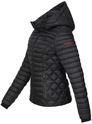 Marikoo Damen Jacke Steppjacke Übergangsjacke mit Kapuze gesteppt B600 [B600-Samt-Schwarz-Gr.XS] - 2