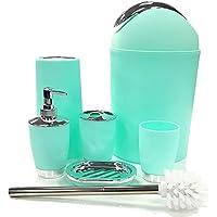 Conjunto de accesorios de baño, 6 piezas: papelera, jabonera, vaso, dispensador de jabón, escobilla de inodoro, soporte para cepillos de dientes
