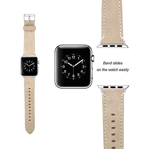 Bearbelly Armband Kompatibel mit Apple Watch Series 1/2/3 38mm Leder Ersatz Sport Business Armbanduhr Band Reine Farbe Vintage Leder Sport Armband Herrenuhrband Damenuhrband -