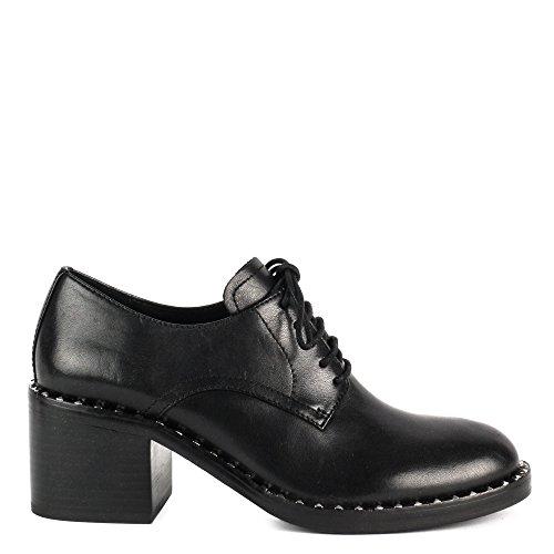 Ash XENOS Block Heel Shoes Black Leather 38 Black